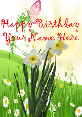Fedele Daffodil He5 Pretty Fiori Da Giardino Happy Birthday Card A5 Personalizzate Saluti- Volume Grande