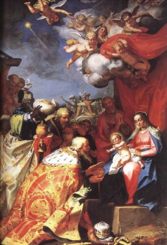 The adoration of the Magi POSTER 24 X 36 INCH Catholic saints Jesus acts