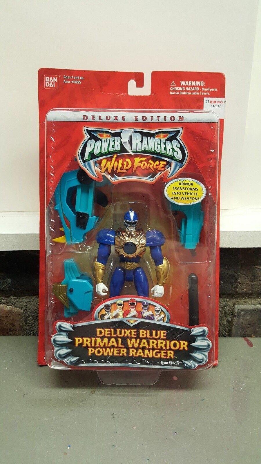 Power Rangers Wild Force 5 1 2  Primal Warrior  azul Ranger Figura 2002 Deluxe