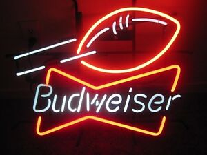 Budweiser-Football-REAL-GLASS-NEON-SIGN-LIGHT-STORE-SPORTS-BEER-BAR-PUB-DECOR