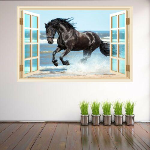 Cheval noir Wall Art Autocollant Mural Decal Home Office Decor Imprimé Animal HK18