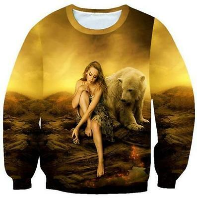 New Mens/Women Beauty And Bear Funny 3D Print casual Sweatshirt hoodies LW84