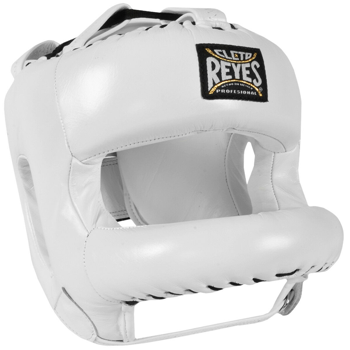 Cleto Reyes Redesigned Leather Boxing Headgear  with Nylon Face Bar - White  hot sports