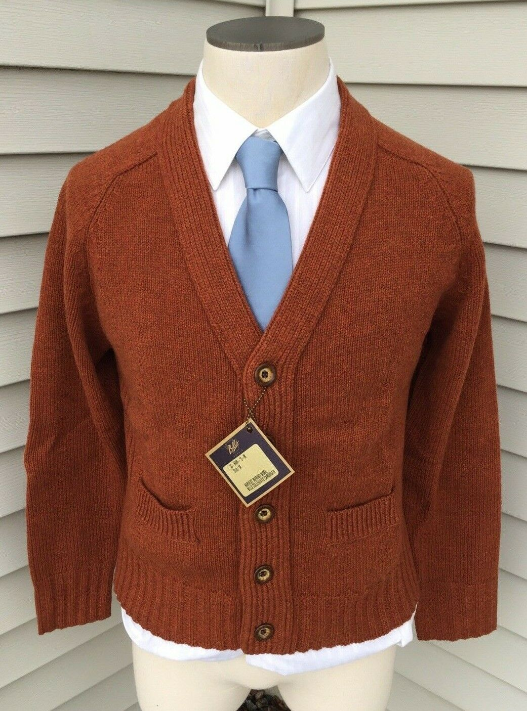 BILLS KHAKIS Harvest Merino Wool Bill`s Collegiate Cardigan Sweater XL NWT