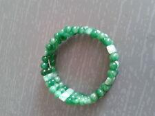 Bracelet en jade, 3 rangs, vert foncé.