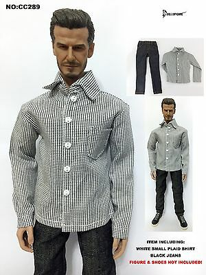 CC288 1//6 Clothing Grey Small Plaid Shirt /& Black Jeans set for HOT TOYS Body
