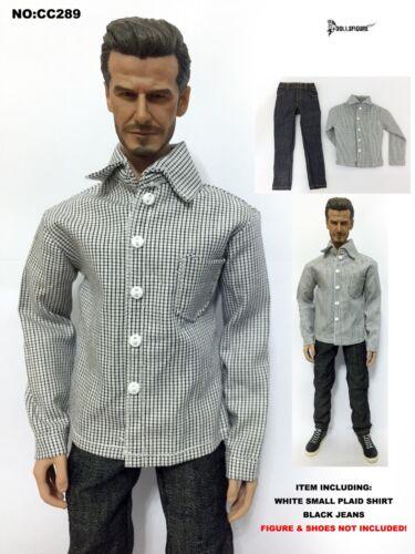 CC289 Abbigliamento 1//6 Bianco Camicia a Quadri Piccoli /& Nero Jeans Set per il corpo HOT TOYS