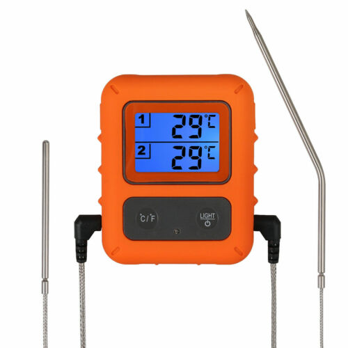 Digital Wireless Remote Meat Cooking Thermometer with 2 Probes Oven BBQ Grill US
