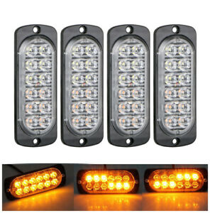 12 LED 36W Strobe LED Red Beacon Emergency Warning Light Bars Kit Fog Light