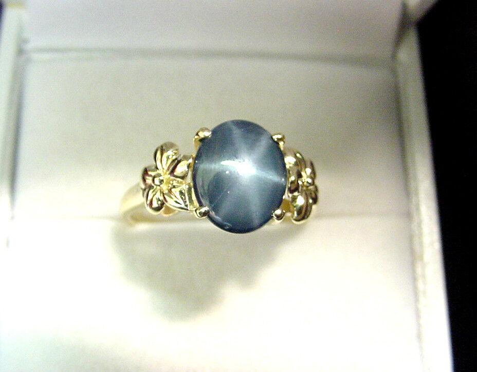 MEDIUM blueE STAR SAPPHIRE 2.43 CTS 14K gold FLORAL DESIGN RING
