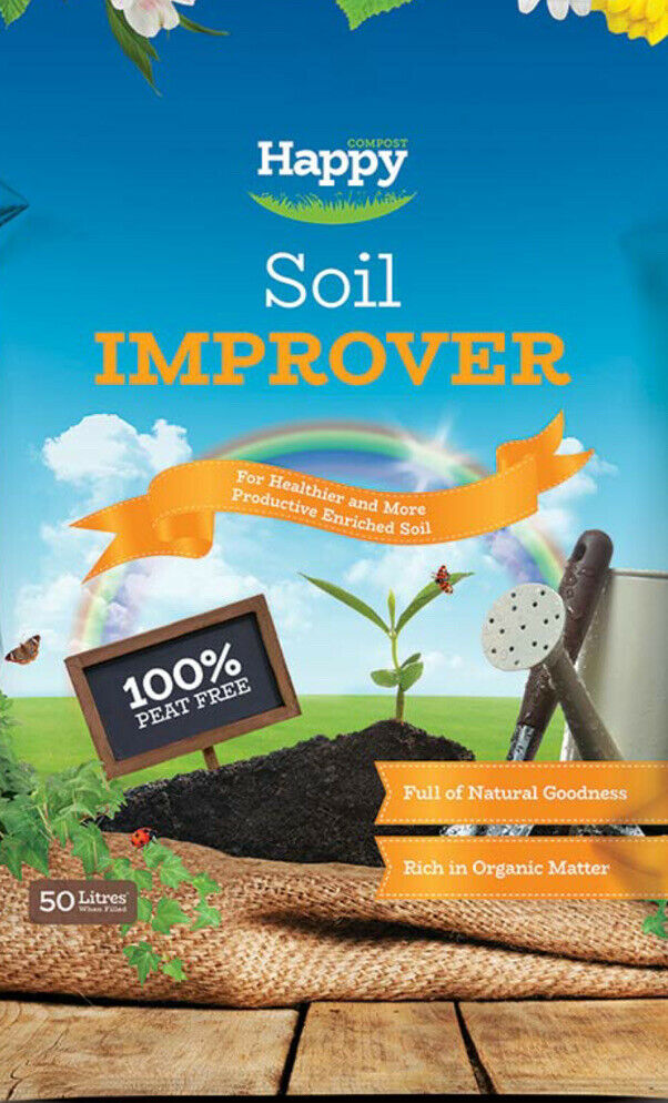50L Bag of HAPPY ORGANiC SOIL CONDITIONER 100% PEAT FREE BEST VALUE Compost