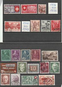 Lot-Schweiz-Briefmarken-gestempelt-21-Stk-Jahr-1936-1949-Helvetia