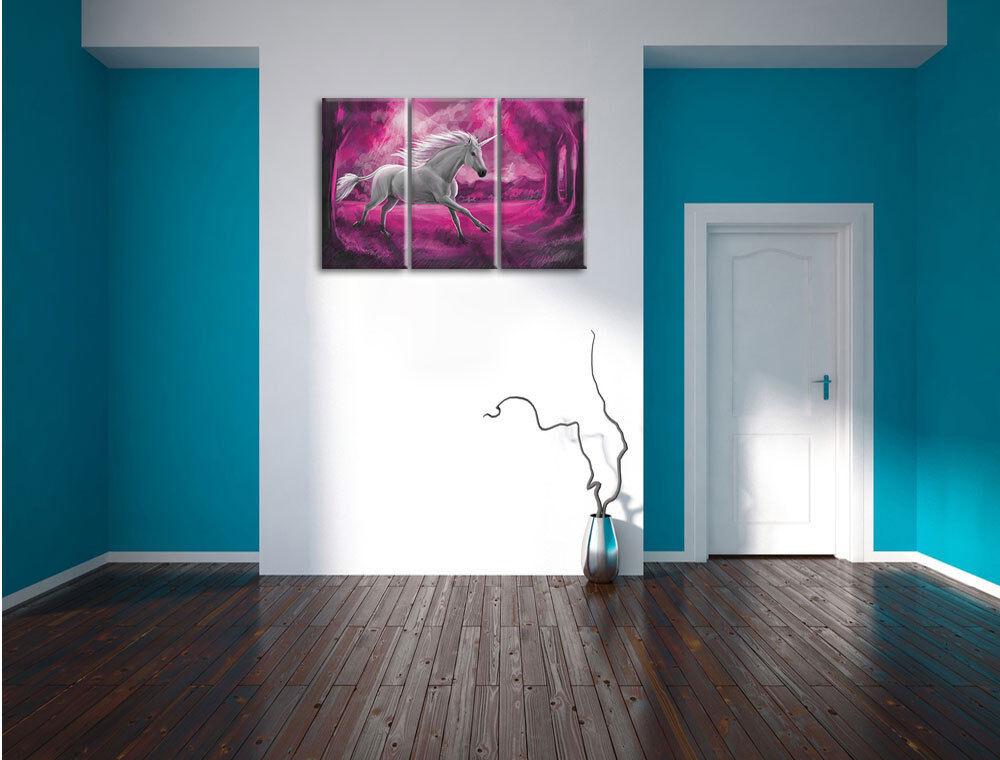 Unicornio en el Bosque 3-Teiler Foto Lienzo Decoración Decoración Decoración de Pa rojo  Impresión ed9575