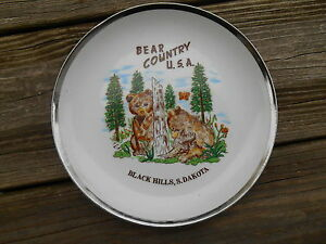Image is loading Old-Vintage-Souvenir-Wall-Plate-Home-Decor-Bear- & Old Vintage Souvenir Wall Plate Home Decor Bear Country Black ...