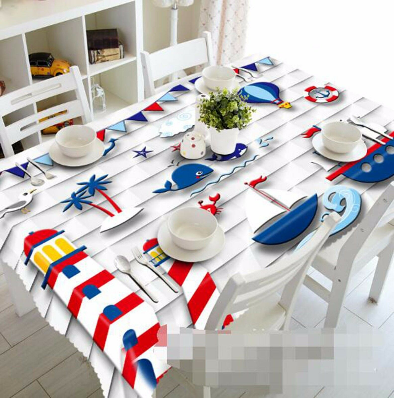 3D Whale Bule Tablecloth Table Cover Cloth Birthday Party AJ WALLPAPER UK Lemon