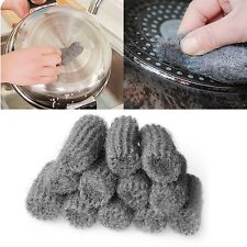 12Pcs Steel Wool Pads Kitchen Wire Cleaning Stainless Steel Ball Pan Cleaner New
