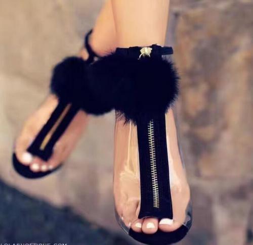 donna Fur Fluffy Clear Transparent Open Peep Toe Stiletto Heel Ankle avvioies New