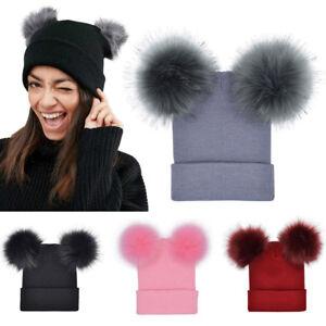 Women Winter Warm Crochet Knit Double Faux Fur Pom Pom Beanie Hat ... 4ba6a4074a