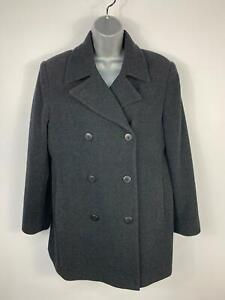 WOMENS-BHS-BLACK-CHARCOAL-WINTER-DOUBLE-BREASTED-SMART-CASUAL-OVERCOAT-SIZE-12