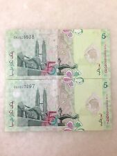 (JC) 2 pcs RM5 11th Series Polymer Zeti Replacement Note  ZA (2 Zero)   - VF (B)