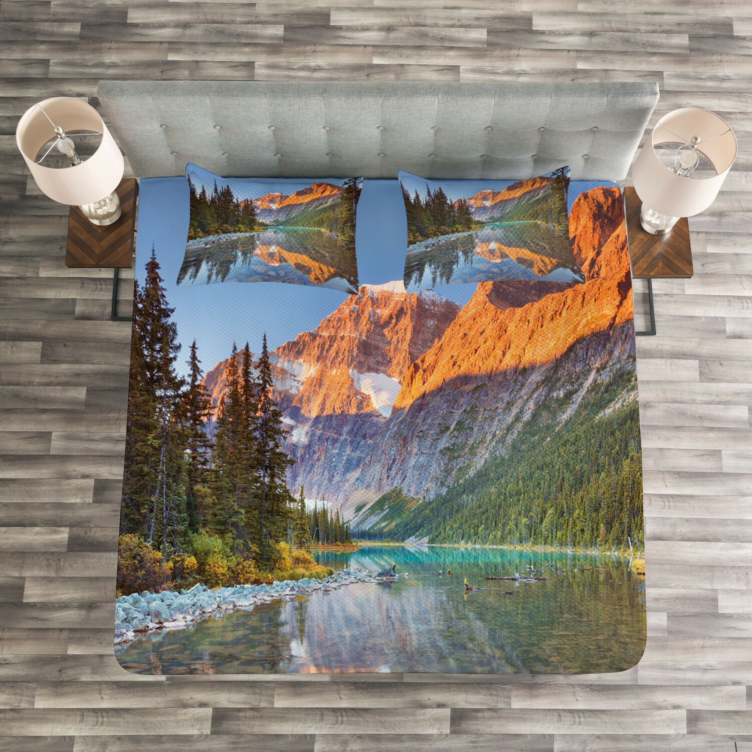 Nature Quilted Bedspread & Pillow Shams Set, Canadian Mountains Print