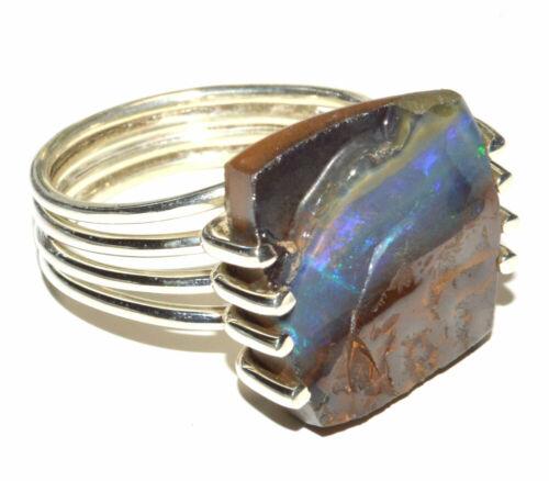 Boulder Opal Australia 925 Sterling Silver Ring Jewelry s.8.5 JB15683