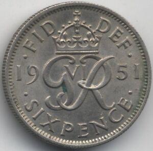 1951 George VI SixpenceCollectors - Weymouth, Dorset, United Kingdom - Returns accepted - Weymouth, Dorset, United Kingdom