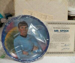 1983 USS Enterprise Star Trek Mr. Spock Science Officer Collector Plate COA IOB