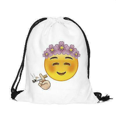 Boys Girls Drawstring PE Bag White Emoji Shoulder Backpack Hand Luggage Gym Bag