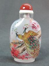 Fine Chinese Peacock Inside Hand Painted Glass Snuff Bottle:Gift Box