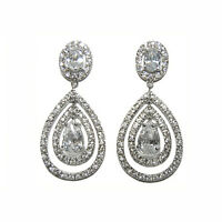 - Tear Drop Cz Chandelier Bridal Earrings-52mm