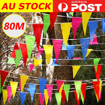 80M Colorful Triangle Flags Bunting Banner Pennant Festival Wedding Party Decor