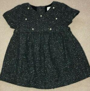 Zara Baby Girl Size 80 9 12 Months Euc Ln Gray Sparkle Holiday Dress Faux Pearls Ebay