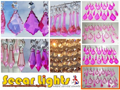 PINK CHANDELIER DROPS VINTAGE CHIC WEDDING CUT GLASS CRYSTALS BEADS DROPLETS BN