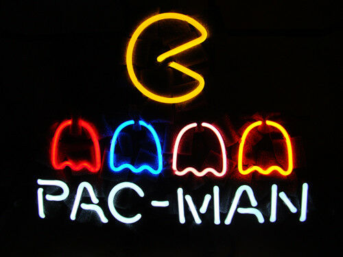 "PACMAN Neon Sign Light Visual Artwork Game Room Wall Decor Real Glass17""x14"""