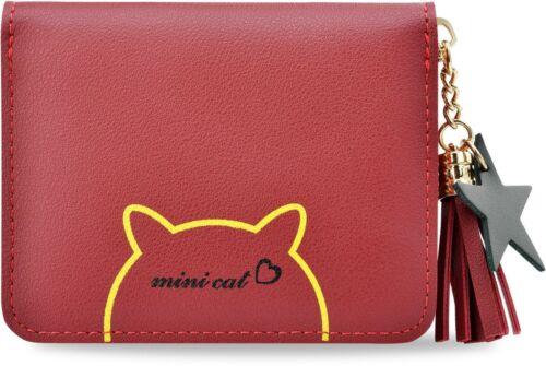 Geldbörse Portemonnaie mit Katze Motiv und Fransen rot süße Mädchen