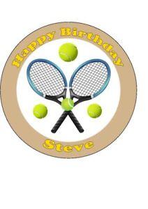 Fine Personalised Tennis Edible Birthday Cake Topper Round Easy Peel Funny Birthday Cards Online Alyptdamsfinfo