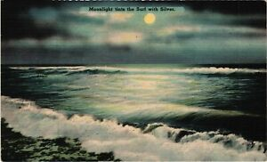 Vintage Postcard -  Moonlight Tints the Surf With Silver Posted 1945 #956