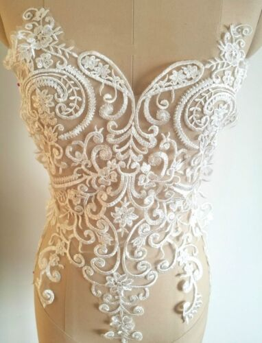 Ivory Embroidery Corded Lace Applique Patches Trim Wedding Bridal Dress Motif