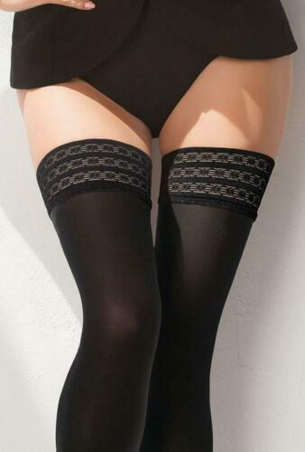 Gatta Gigi Elegant Opaque Sheer Quality Hold Ups Fancy Patterned Lace 60 Denier