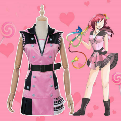 KINGDOM HEARTS III Kairi Anime Cosplay Costume Pink Dress