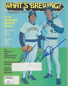 1987 BREWERS Teddy Higuera Rob Deer signed What's Brewing magazine JSA COA AUTO