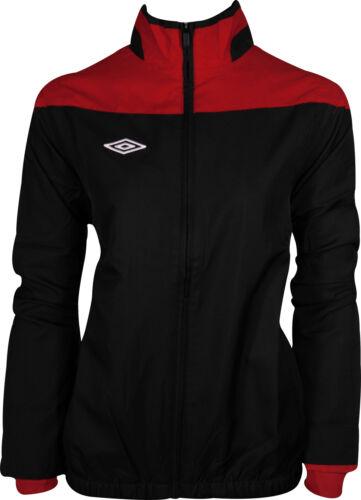 Umbro Womens Training Jacket Black Red Contrast Upper Panel Full Zip Football