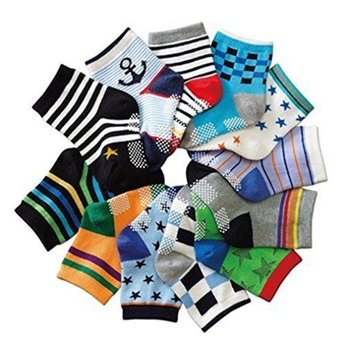 JT-Amigo 12 Paires Bébé Antidérapant en Coton Chaussettes anti glisse