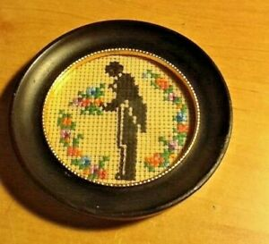 Antique-VINTAGE-Cross-Stitch-Victorian-MAN-IN-TUX-SILHOUETTE-flowers-GLASS-FRAME