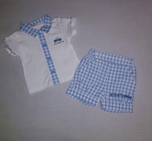 NEU Baby Jungen Hemd Shorts Set Gr 56 62 68 cm