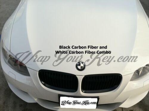 BLACK /& WHITE CARBON FIBER BADGE CORNERS FOR BMW M3 3 Series E90 E91 E92 E93 F20