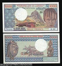 CAMEROUN CAMEROON 1000 FRANCS P16D 1982 RHUMSIKI UNC* PEAK AIR PLANE TRAIN NOTE