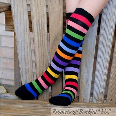 BonEful Boutique RTS NEW Cotton Knit GIRL KNEE High SOCKS Rainbow Red Black STAR