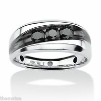 Mens Platinum Over Sterling Silver Black Diamond Ring Size 8,9,10,11,12,13